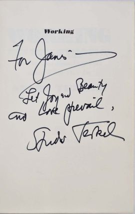 WORKING. Signed and inscribed by Studs Terkel.
