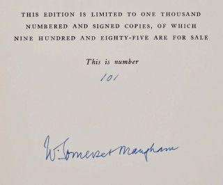 A WRITER'S NOTEBOOK. Limited editon signed by W. Somerset Maugham.