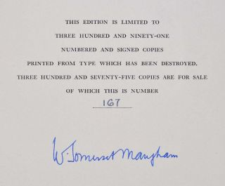 THE SUMMING UP. Limited editon signed by W. Somerset Maugham.