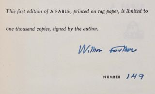 A FABLE. Limited edition signed by William Faulkner.