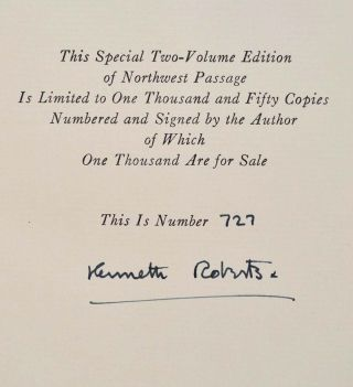 NORTHWEST PASSAGE. Limited edition signed by Kenneth Roberts.