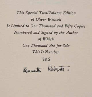 OLIVER WISWELL. Limited edition signed by Kenneth Roberts.