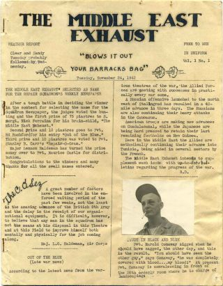 THE MIDDLE EAST EXHAUST. Vol. 1, Nos. 1-7. November 1942-January 1943. 26th Depot Repair Squadron...