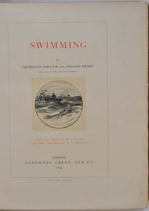 SWIMMING. Large Paper Edition. The Badminton Library of Sports and Pastimes.