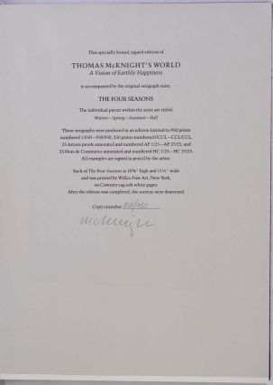 THOMAS MCKNIGHT'S WORLD: A Vision of Earthly Happiness. Limited edition signed by Thomas McKnight.
