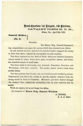 General Orders No. 2. Cavalry Corps M.D.M. Military Division of the Mississippi