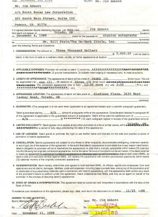 Appearance Agreement [Contract] signed by Jim Abbott. Jim Abbott