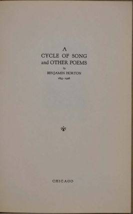 A CYCLE OF SONG AND OTHER POEMS.