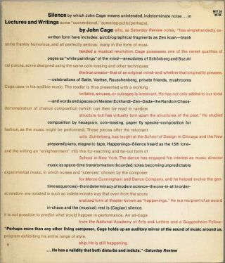 SILENCE. Lectures and Writings by John Cage. John Cage
