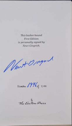 TO RENEW AMERICA. Limited edition signed by Newt Gingrich.