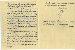 Letter handwritten and signed by Elie Augustin Boe (1853-1939).