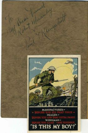 RHYMES OF A DOUGHBOY. Signed and inscribed by Paul T. Klingstedt.
