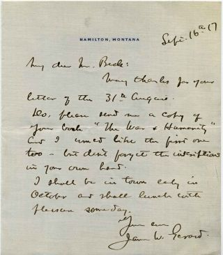 Letter Handwritten and signed by James W. Gerard (1867-1951). James W. Gerard