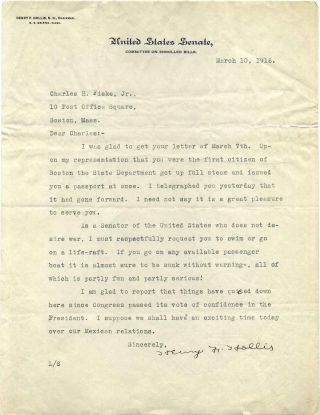 Typed letter signed by Henry French Hollis (1869-1949). Henry F. Hollis
