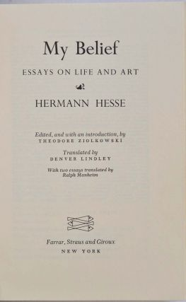 MY BELIEF: Essays on Life and Art.