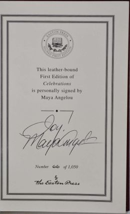 CELEBRATIONS. Rituals of Peace and Prayer. Limited edition signed by Maya Angelou.