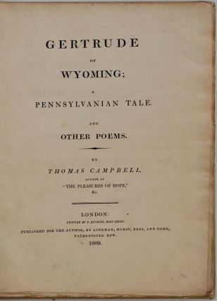GERTRUDE OF WYOMING; A Pennsylvanian Tale, and other poems.