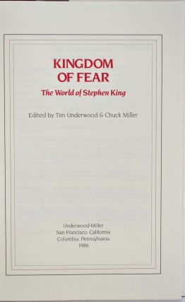 Kingdom of fear. The world of Stephen King.