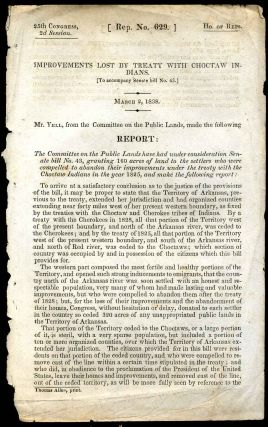 Improvements lost by treaty with Choctaw Indians. [To accompany Senate bill no. 43.] March 2,...