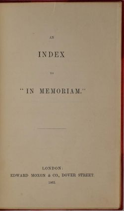 An Index to IN MEMORIAM.