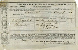 Receipt note. Buffalo, Lake Huron Railway Company