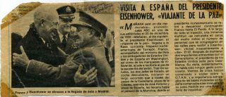 Newspaper Photograph Signed by Dwight D. Eisenhower, Franco and Vernon Walters.
