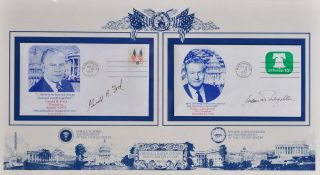 First Day Covers. Signed by Gerald R. Ford while President and Nelson A. Rockefeller as...