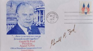 First Day Covers. Signed by Gerald R. Ford while President and Nelson A. Rockefeller as Vice-President of the United States of America.